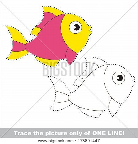 Pink Fish to be traced only of one line, the tracing educational game to preschool kids with easy game level, the colorful and colorless version.