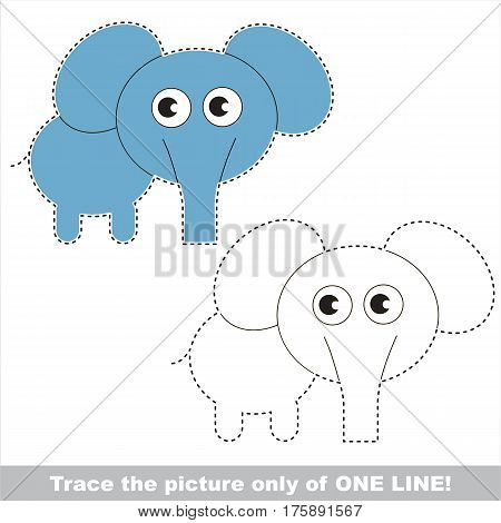 Elephant to be traced only of one line, the tracing educational game to preschool kids with easy game level, the colorful and colorless version.