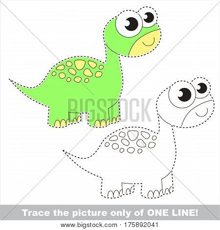 Brontosaurus to be traced only of one line, the tracing educational game to preschool kids with easy game level, the colorful and colorless version.