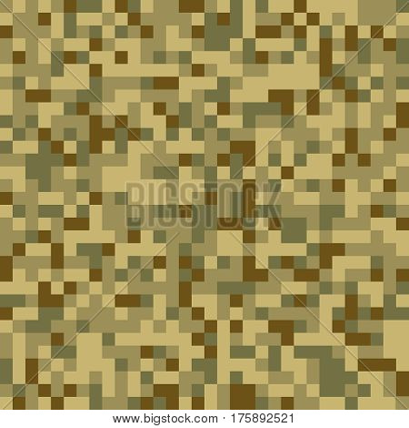 Trendy digital pixel camouflage seamless pattern. Universal green seamless texture for disguise. Abstract geometric tiled background with colored pixels for textile, backdrop or banner