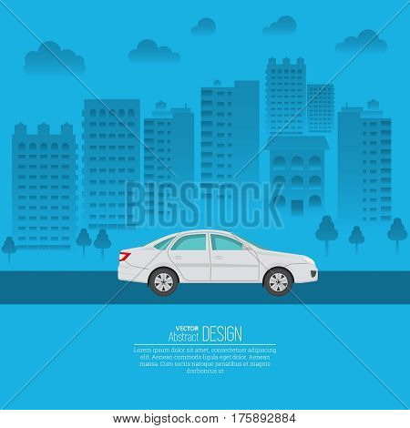 The passenger automobile against the background of the city. The vehicle moves on the city highway. A vector illustration in flat style with the place for the text. Is suitable for advertizing the poster.