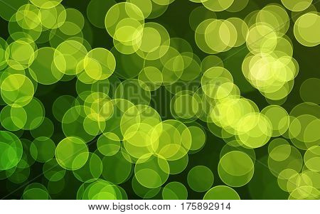 Green digital bokeh background, created by computer software
