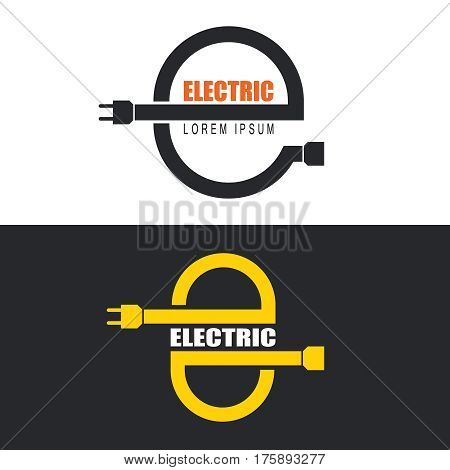 Set of electric logos. Connection of electric devices. Signs in the form of letter Е. Vector illustration.