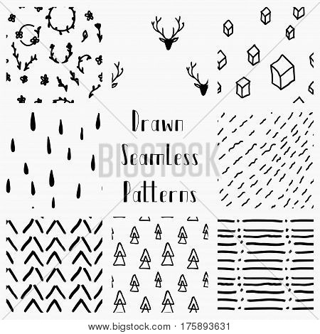 Set of Cute Abstract Hand Drawn Geometric Black Seamless Background Patterns. Fully Editable EPS file with Pattern Swatches. Doodle Style