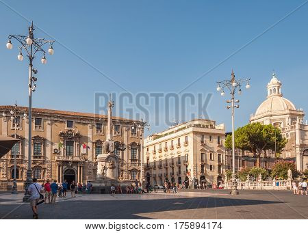 The Fountain Of Elephant On The Cathedral Square In Catania, Sicily, Italy