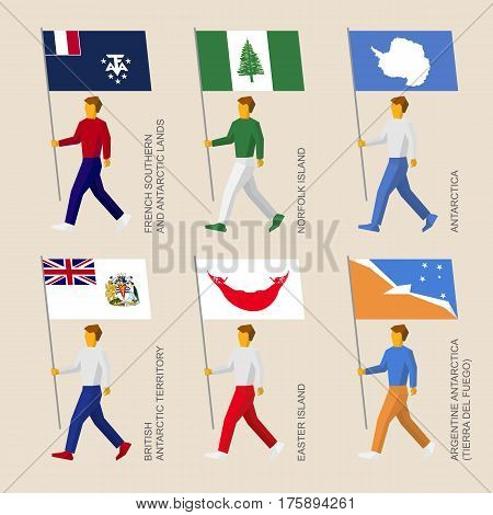 Set Of Simple Flat People With Flags Of Countries