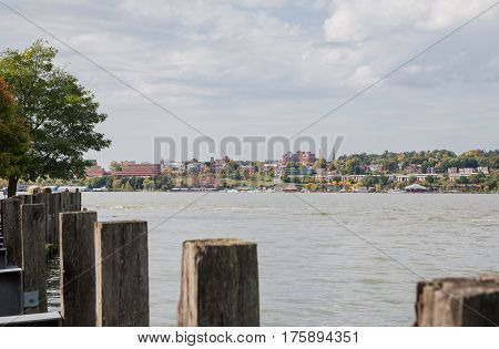 View of Newburgh riverfront from Long Dock Park in Beacon NY.