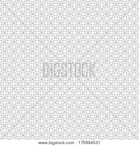 Vector seamless pattern. Modern stylish geometric texture with intersecting outline circles. Regularly repeating geometrical tiles with stars rhombuses round elements.