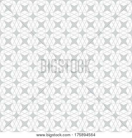 Seamless pattern. Stylish geometric texture. Modern linear ornament. Regularly repeating thin line hexagonal grid with hexagons stars rhombuses diamonds. Vector design element.