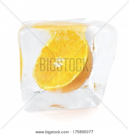 Slice Orange frozen in ice cube. Ice cube in front view, single ice cube isolated on white background, 3d rendering