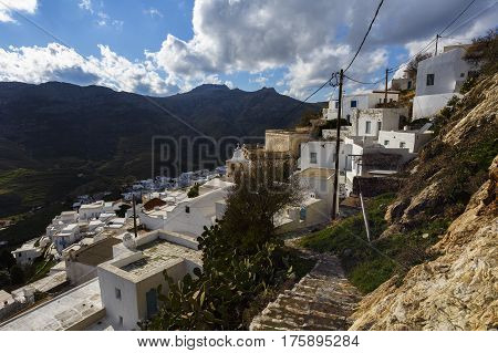 View of the Chora village on Serifos island in Greece.