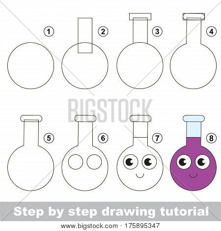 Drawing tutorial for preschool children, the easy educational kid game with simple game level of difficulty, how to draw Vial.