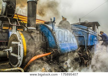 DARJEELING INDIA - 2017 MARCH 4 : The British-built famous mountain railway the so-called Toy Train on April 14 2014 in Darjeeling India. It is part of the World Heritage.