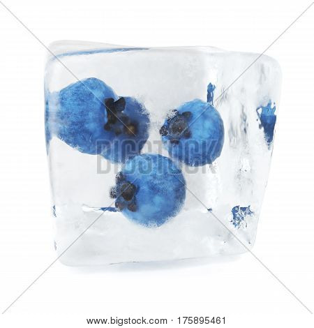 Blueberries frozen in ice cube, ice cube in front, single ice cube isolated on white background, 3d rendering