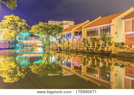 MALACCA MALAYSIA - AUGUST 13 2016: Hard Rock Cafe city along Melaka river on August 13 2016 in Malacca Malaysia. Malacca has been listed as a UNESCO World Heritage Site since 7 July 2008.