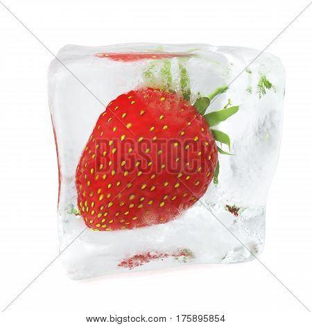 Strawberry frozen in ice cube, ice cube in front view, single ice cube isolated on white background, 3d rendering