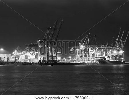 Hamburg Sea Port In Black And White