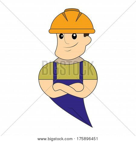 Builder man in blue overall. Erector in orange helmet.