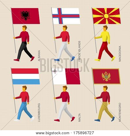 People With Flags - Albania, Faroes, Macedonia, Luxembourg, Malta, Montenegro