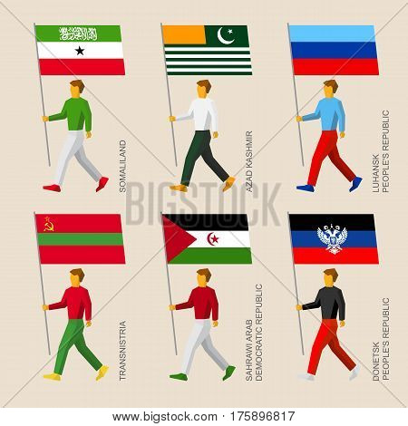 Set Of Simple Flat People With Flags Of Disputed Territories