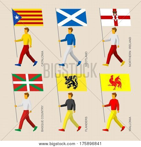 People With Flags - Catalonia, Basque Country, Scotland, Flanders, Wallonia