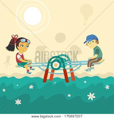 Children on swing Vector Illustration eps 8 file format