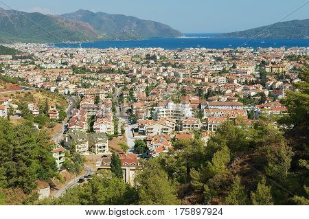 MARMARIS, TURKEY - AUGUST 12, 2009: View to the Marmaris resort town in Marmaris, Turkey.