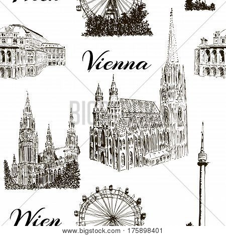 Set of Vienna symbols. Donauturm, Stephansdom, Rathaus, Prater, Vienna State Opera House. Wiener Staatsoper. Hand drawn sketch seamless pattern vector set. For prints, textile, wrapping, web,