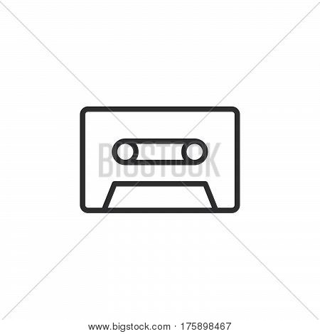Audio cassette line icon outline vector sign linear style pictogram isolated on white. Symbol logo illustration. Editable stroke. Pixel perfect