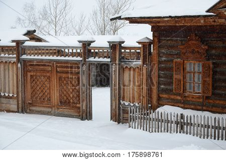 Irkutsk regionRussia-Feb18 2017: The building of the Volost Management. Museum of Wooden Architecture Taltsy