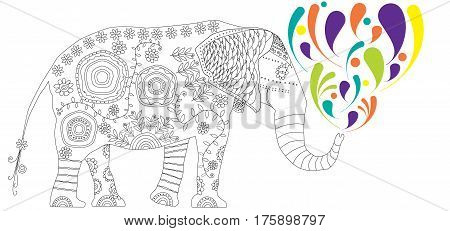Decorative elephant. Adult antistress coloring page. Black and white illustration with colored splashes for coloring book