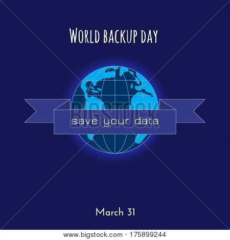 Backup and restore data ribbon badge. World Buckup Day illustration.