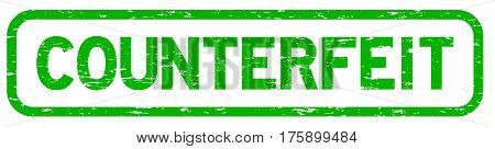 Grunge green square counterfeit rubber seal stamp