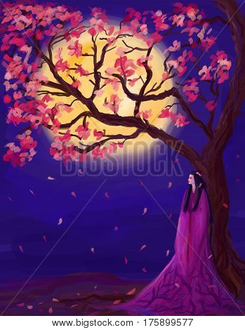 meditative abstract illustration with sakura, moon and contemplative woman