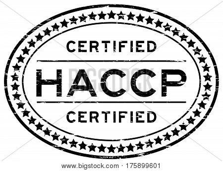 Grunge black HACCP (Hazard analysis and critical control points) oval rubber seal stamp