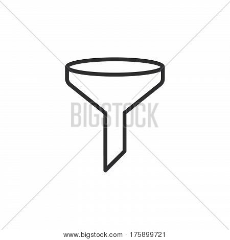 Funnel filter line icon outline vector sign linear style pictogram isolated on white. Symbol logo illustration. Editable stroke. Pixel perfect