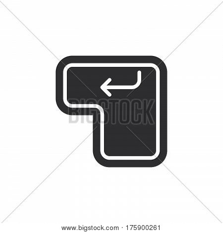 Enter keyboard key icon vector filled flat sign solid pictogram isolated on white. Symbol logo illustration. Pixel perfect