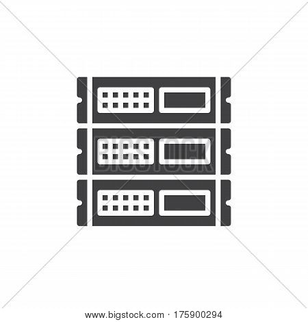 Rack units servers icon vector filled flat sign solid pictogram isolated on white. Symbol logo illustration. Pixel perfect