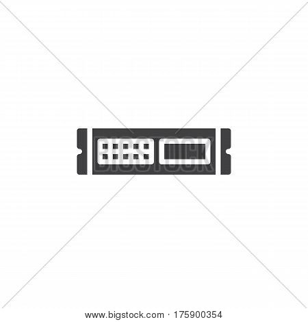 Rack unit server icon vector filled flat sign solid pictogram isolated on white. Symbol logo illustration. Pixel perfect