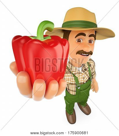 3d working people illustration. Farmer with a red pepper from his harvest. Isolated white background.
