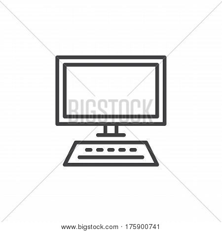 Desktop computer workstation line icon outline vector sign linear style pictogram isolated on white. Workplace symbol logo illustration. Editable stroke. Pixel perfect