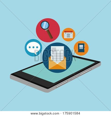 assorted cellphone applications related icons image vector illustration design