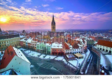 Sibiu Romania Transilvania At Sunset