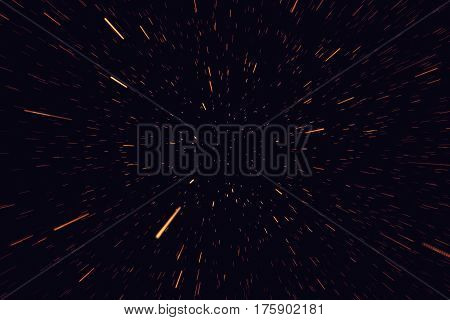 Concept traveling in space, warp stars abstract background, galaxy, 3d rendering