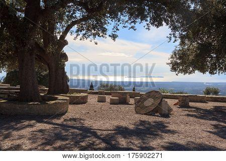 Monastery Santuari De Cura On Puig De Randa And Mediterranean Sea, Majorca, Spain