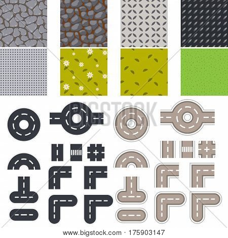 Landscape seamless tiles and road vector set. Tileable land constructor objects top view.