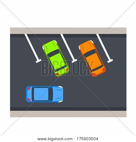 Car parking vector illustration. Carpark top view with cars and marked asphalt area.