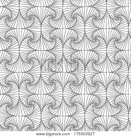 Vector seamless abstract monochrome spiral line pattern.