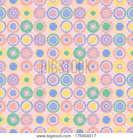 Seamless Vector Geometrical Pattern With Circles Pastel Endless Background With Hand Drawn Textured