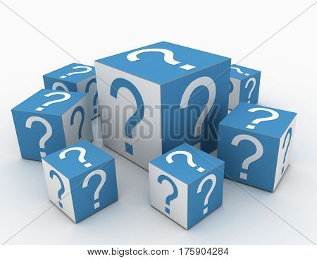 Cubes with Question Marks in the design of information related to internet. 3d illustration